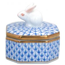Herend Octagon Fanacy Box with Rabbit Knob - Blue